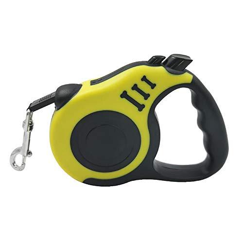 HLAA Correa de tracción automática retráctil de nailon para gatos, para cachorros, paseos, perros, correr, ruleta, duradero, sin enredos, freno de una mano (3 m/5 m) (5 m, amarillo)