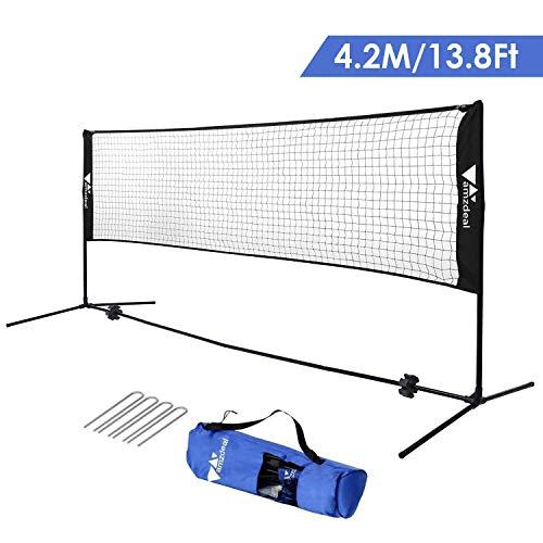 amzdeal Rete da Badminton Portatile, Badminton Rete Multifunzione per Tennis e Pallavolo, da Terra di 83cm,Tubo di Acciaio + Rete di Nylon Adatto ad Estero, Spiaggia (Nero)