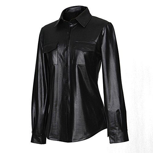 Womens Shiny Metallic Nightclub Styles Button Down Black Leather Shirt with Long Sleeves
