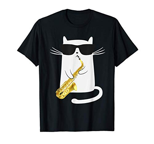 Funny Cat Wearing Sunglasses Playing Saxophone Gift T-Shirt
