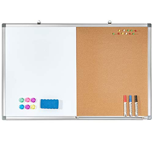 Combination White Board & Bulletin Cork Board 24 x 18 Whiteboard Magnetic, Combo Dry Erase Board with Aluminum Frame Hanging Message Board Wall Mounted for Homeschooling, Office, Classroom