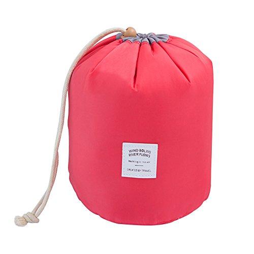 Toruiwa–Bolsa de Aseo Bolsa de cordón, sede de almacenaje Maquillaje portátil Plegable Impermeable de poliéster para gymnastiquem Viaje Deporte 17* 23cm, Rojo, 17 * 17 * 23cm