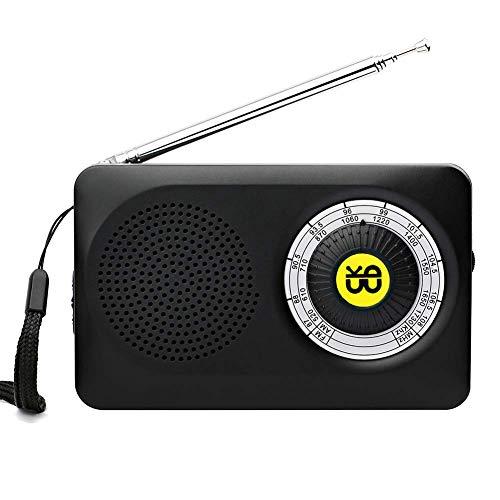 Negro ohCome Pocket Am FM 2 Bandas de Radio est/éreo Mini DSP Digital Tuning Receptor con Pantalla LCD Bater/ía Recargable y Auriculares para Caminar