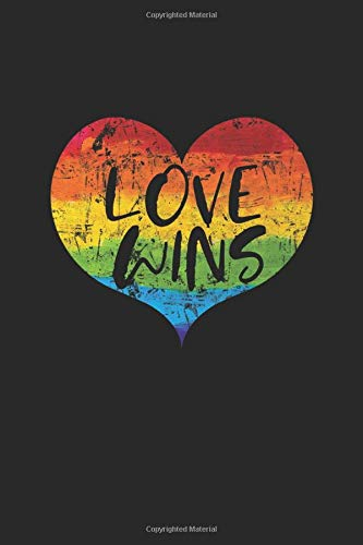 Love Wins: L\'amore vince il taccuino a righe LGBT Heart Rainbow Statement Gifts (formato A5, 15,24 x 22,86 cm, 120 pagine)