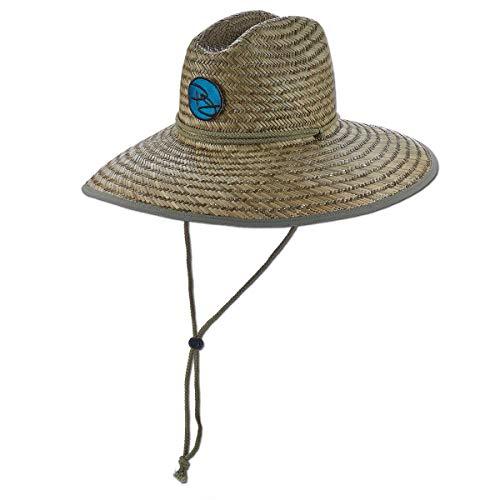 Panama Jack Rush Straw Lifeguard Sun Hat, 4' Bound Big Brim, Chin Cord and Toggle with Logo Patch (Blue, Large/X-Large)