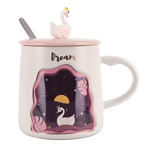 Taza animal en relieve, taza de cerámica durable Touse para la oficina para el hogar(Swan spoon with lid)