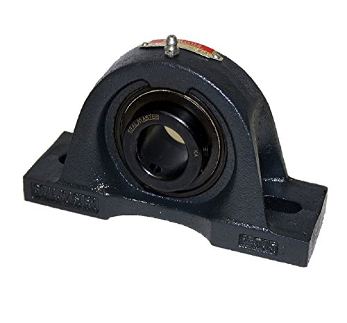 "Sealmaster MPD-63 AXQ Pillow Block Ball Bearing, Non-Expansion Type, Medium-Duty, Regreasable, Double Setscrew Locking Collars, Felt Seals, Tight Housing Fit, Grease Filled, Cast Iron Housing, 3-15/16"" Bore, 5"" Base to Center Height, 13-1/4"" Bolt Hole Spacing Width, ±2 degrees Misalignment Angle"