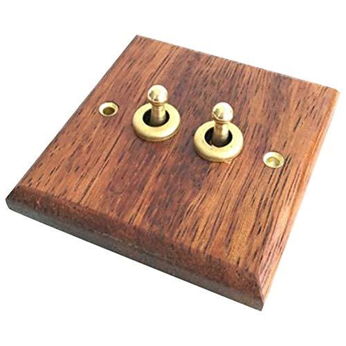 Domilay Interruptor de Panel de Madera Maciza Tipo 86, Luz de Pared, Interruptor de Palanca de LatóN Retro, Interruptor EléCtrico de Grano de Madera, 2 Interruptores