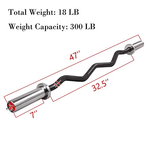 Elevens 47 Inch- 300 lb Weight CapacityOlympic Super Curl Bar - Excellent for Bicep Curls and Triceps Extensions