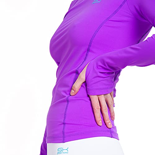 Mädchen & Damen Sport Langarm Funktionsshirt mit Daumenloch, Laufshirt, UV-Schutz, atmungsaktiv, lila, Gr. 152