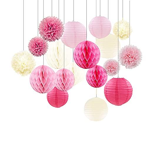 Jooheli 18 Stücke Teilig Mix Papier Lampions Set-Lampions/Wabenbälle/Pompoms für Geburtstag Babyshower Party Garten Hochzeit Dekoration(Rosa/Rose Rot/Weiß)