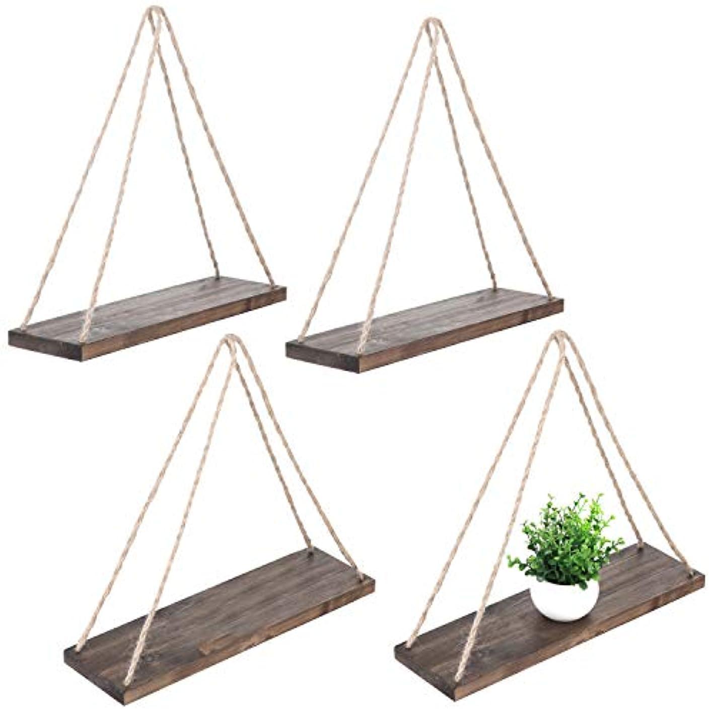 MyGift Set of 4 Rustic Brown Wood Rope-Hanging Swing Wall Shelves