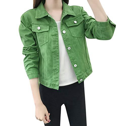 Mujer Casual Chaqueta Vaquera Slim Fit Cazadora De Denim Jeans Abrigos Manga Larga STRIR (L, Verde)