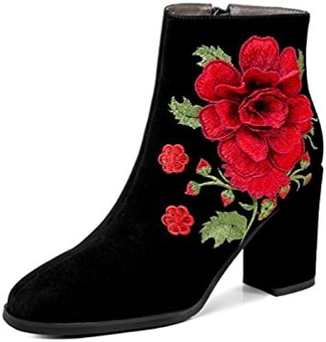 NVXUEZIX Damenschuhe Suede Winter Herbst Stiefel Chunky Heel Heel Heel runde Zehe Stiefelies Stiefeletten Stickerei Blaume, 37  Großhandelspreis