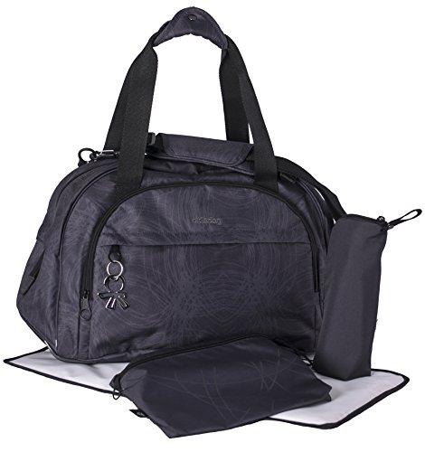 okiedog Shuttle 39013 geräumiger Weekender, Reisetasche mit Trolleyschlaufe, Schultergurt, viele Fächer, inkl. Zubehör für Wickeltasche und Zubehörbeutel, Scribbles schwarz, ca. 49 x 32 x 25 cm