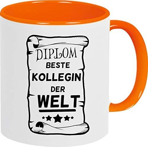 Shirtinstyle Kaffeepott Kaffeetasse, Diplom Beste Kollegin der Welt, Familie, Verwandtschaft, Kaffee, Tee, Spruch, Motiv, Logo, Farbe Orange