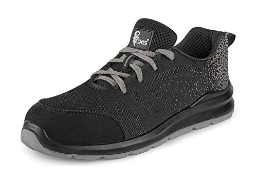 Canis CXS TEXLINE SIT S1 Schuhe Arbeitsschuhe Sicherheitsschuhe Herren Damen Stahlkappe leicht Sportschuhe bequem Gel-Innensohle atmungsaktiv EN-20345 schwarz; (43)