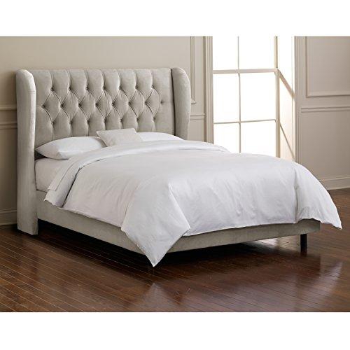 Skyline Furniture Velvet King Tufted Wingback Bed, Light Gray