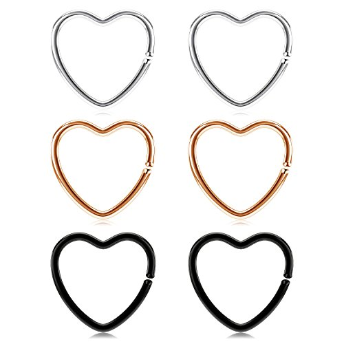 vcmart Daith Rook Snug Tragus Piercing Earrings Stainless Steel 20G Heart-Shaped Ear Cartilage Ring Body Jewelry 3/8in(10mm)