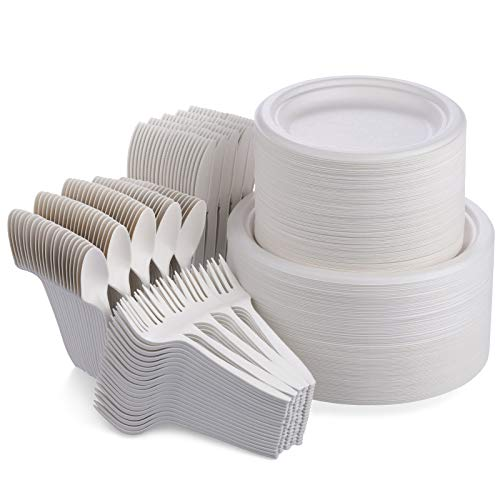 Fuyit 500Pcs Disposable Dinnerware Set for 100 Guests, Compostable Sugarcane Cutlery Eco-Friendly Tableware Includes Biodegradable Paper Plates, Forks, Knives and Spoons for Party, BBQ, Picnic (White)