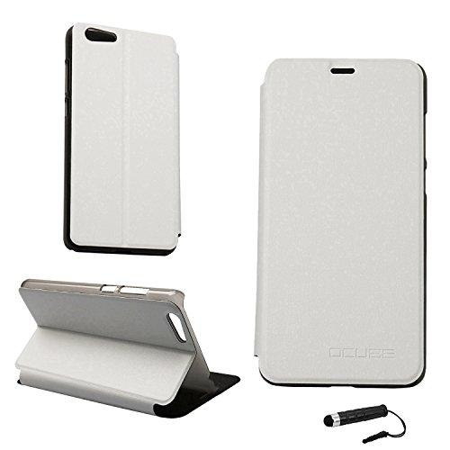 Ycloud Tasche für Elephone S7 Hülle, PU Ledertasche Metal Smartphone Flip Cover Hülle Handyhülle mit Stand Function Weiß