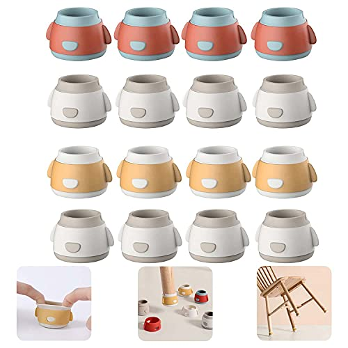 Furniture Cups - 16pcs Silicone Chair Leg Floor Protectors Caps with Felt Pads, Non-slip Cute Table Leg Cups for Protect Your Floors & Prevent Furniture from Rolling by (A)