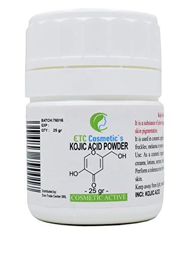 Poudre d'acide kojique 25/50 Gr (KOJIC ACID POWDER) peut être incorporé dans des formulations de soin de la peau conçues pour éclaircir le teint de la peau hydratants crèmes lotions savons (25 Gr)