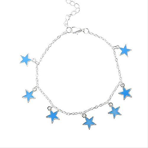 CHIY-GBC Playa Viento Azul pentagonal Estrella Borla Tobillo Cadena Pulsera Estrella Luminoso Pulsera Tobillo Adorno