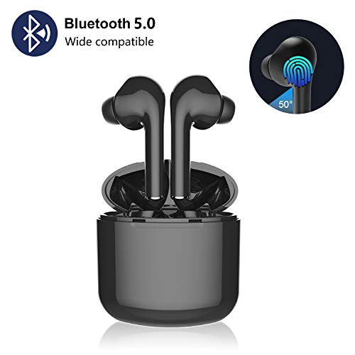 True Wireless Earbuds TWS Bluetooth Headphones in-Ear Stereo Earphones Built-in Microphone Rechargable Wireless Headsets with Portable Charging Case Compatible iPhone iOS Android Samsung