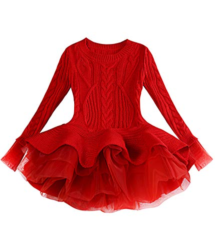 Sweater for Girls Little Girls' Fall Blush Sweater Outfits Long Sleeve Dress Clothes Kids Children Girls' Casual Dresses Dress Size for 3-4 Years Ruffle (Red 100)