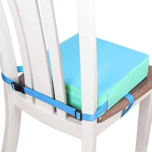 Toddler Booster Seat for Dining Table, Double Straps Washable Portable Booster Seat Dining Table, Increasing Cushion for Baby Kids (Blue)