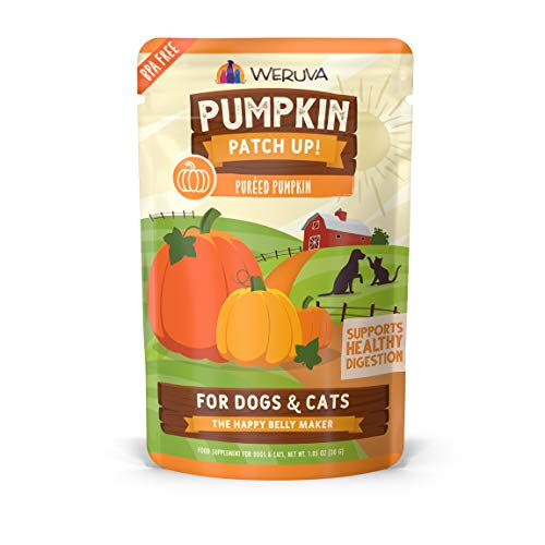 Weruva Pumpkin Patch Up!, Pumpkin Puree Pet Food Supplement for Dogs & Cats, 1.05oz Pouch (Pack of 12), Orange (0805)