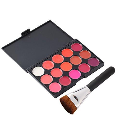 BlackEdragon 15 Farben Make-up Palette Kosmetische Glanz Lippenstift Palette Mit Kosmetikpinsel...