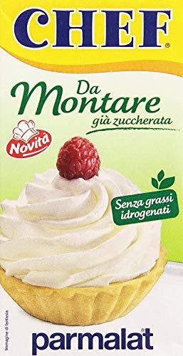 24x Parmalat Chef Da Montare già zuccherata Gebäckprodukt schon gesüßt Sahne für Desserts 500ml Ideal zum Füllen und Dekorieren aller Arten von Desserts ohne hydrierte Fette