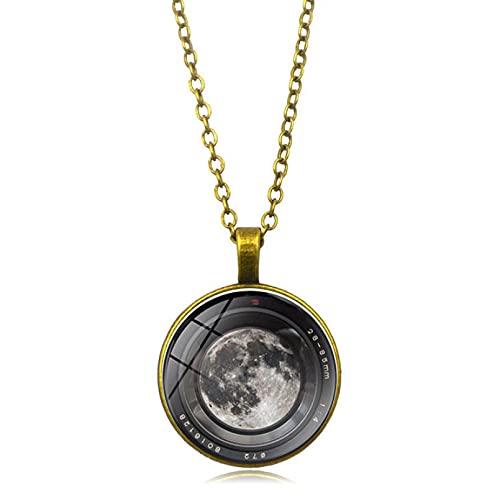 WDBUN Collar Colgante Joyas Cámara Digital Luna Tiempo de Luna Collar de Piedras Preciosas Joyería Colgante de Cadena de suéter de Metal Europeo y Americano Regalo(Imagen Personalizable)