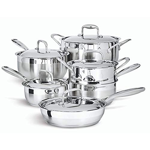 Paderno 11-Piece Stainless-Steel Cookware Set   Kitchen Pots and Pans Set with Covered Steamer