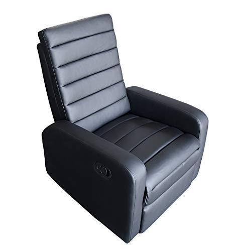 CADENTRO - Sillón de relaxación reclinable manual con reposapiés de piel sintética