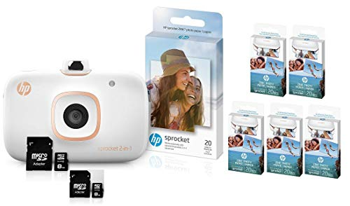 Best Deals! HP Sprocket 2-in-1 Portable Photo Printer & Instant Camera Bundle with Two: 8GB MicroSD ...