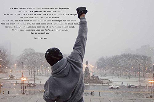 time4art Rocky Balboa Bild MIT Zitat Boxen Sport Print Canvas Bild auf Keilrahmen Leinwand Giclee 80x60cm