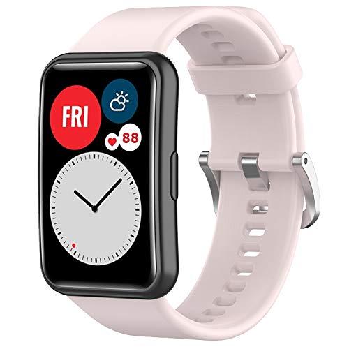 Wownadu Correas Compatible para Huawei Watch Fit Correa Mujer Hombre Intercambiable Pulsera, Sakura Pink Repuesto Accesorios Band (Sin reloj)