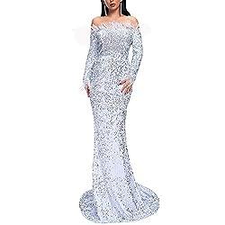 Off Shoulder Long Sleeve High Split White Sequin Floor Length Dress