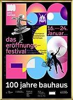 ポスター バウハウス 100 Jahre Bauhaus Festival 2019 Black 額装品 アルミ製ベーシックフレーム(ゴールド)