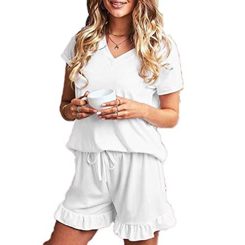 Conjunto de Pijamas de Color Liso para Mujer Top sin Mangas + Pantalones Cortos Ropa de hogar para Mujer Pijama Mujer