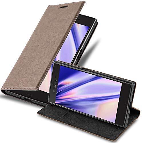 Cadorabo Hülle für Sony Xperia XZ/XZs in Kaffee BRAUN - Handyhülle mit Magnetverschluss, Standfunktion & Kartenfach - Hülle Cover Schutzhülle Etui Tasche Book Klapp Style