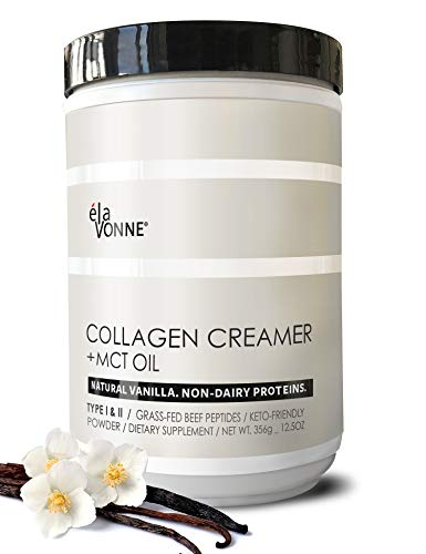 Collagen Creamer + MCT Oil for Coffee - Vanilla - Grass Fed Non Dairy Protein Peptides - Keto/Paleo - No Sugar - Supports Skin, Beauty, Joints, Gut, Hair, Nails - Elavonne