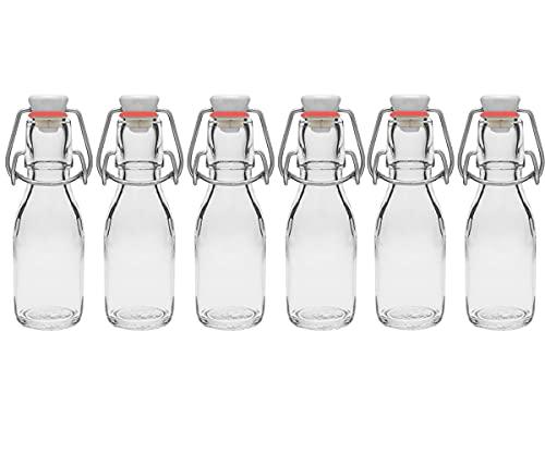 6 botellas de cristal con cierre hermético para smoothie Grappa (6 x 100 ml)