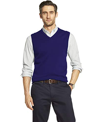 IZOD Men's Premium Essentials Solid V-Neck 12 Gauge Sweater Vest, Peacock Blue, Large