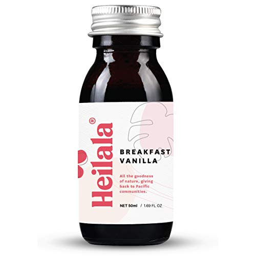 Heilala Breakfast Vanilla - Breakfast Flavor with Vanilla Bean Seeds, Sustainable and Ethically Sourced Vanilla, Hand-Picked from Polynesia, Perfect for Coffee, Granola, Yogurt, 1.69 fl oz