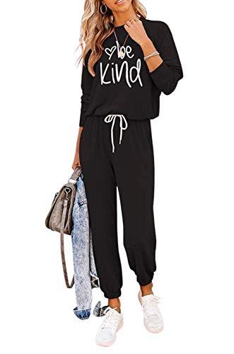 Loalirando Completo Sportivo Donna Maglietta a Manica Lunga + Pantaloni Sportivi a Vita Alta con Tasche (Nero, XL)