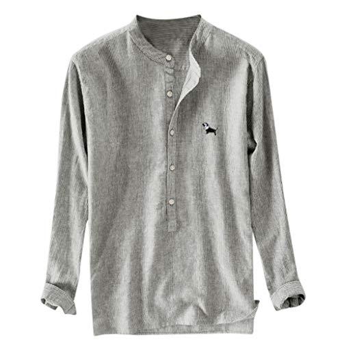 TUDUZ Camisetas Hombre Manga Larga Bordado De Rayas Camisas Algodn Y Lino Tops Botn Ropa Talla Extra (Gris Oscuro, L)